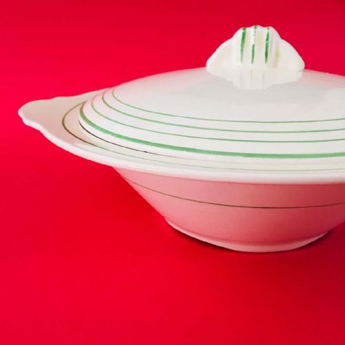 Art Deco Midwinter | Cream and Green Lidded Tureen | 1930s